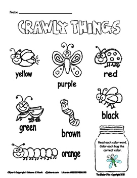 Crawly Things Color Word Practice
