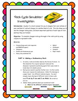Crayon Activity: Rock Cycle Simulation Investigation