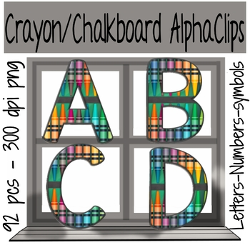 Crayon Alphabet, Numbers and Punctuation Clips