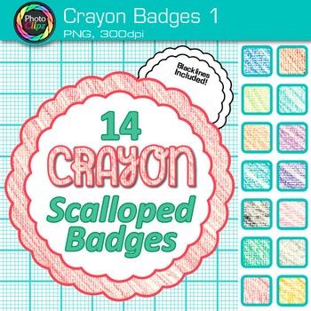 Crayon Badges Clip Art {Labels & Frames for Worksheets & Resources} 1