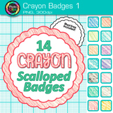 Crayon Badges Clip Art {Labels & Frames for Worksheets & Resources} 1