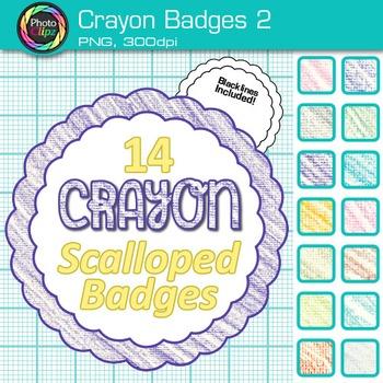 Crayon Badges Clip Art {Labels & Frames for Worksheets & R