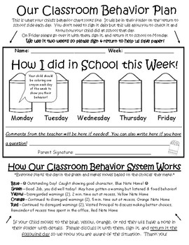 Crayon Behavior Plan Info for Parents