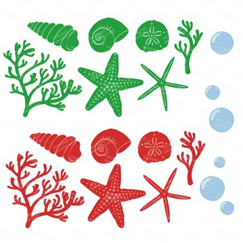 Crayon Box Coral & Seashells Clipart