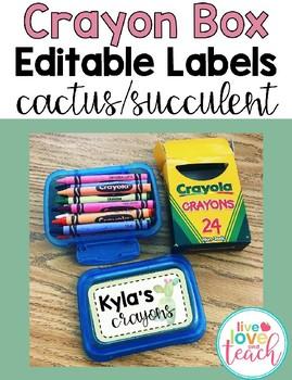 Crayon Box Editable Lid Label - Cactus/Succulents