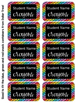 Crayon Box Editable Lid Labels - Black & Brights