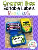 Crayon Box Editable Lid Labels - Bright Owls