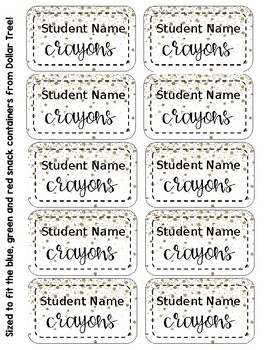 Crayon Box Editable Lid Labels - Silver & Gold Confetti
