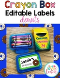 Crayon Box Editable Lid Labels - Donuts