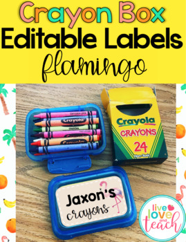 Crayon Box Editable Lid Labels - Flamingo