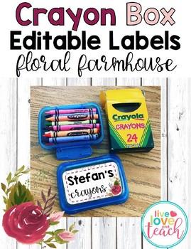 Crayon Box Editable Lid Labels - Floral Farmhouse