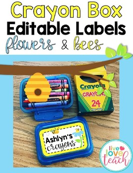 Crayon Box Editable Lid Labels - Flowers and Bees