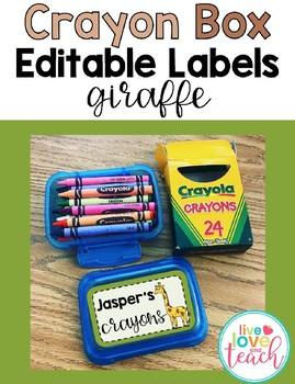 Crayon Box Editable Lid Labels - Giraffe