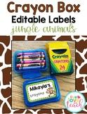 Crayon Box Editable Lid Labels - Jungle Animals