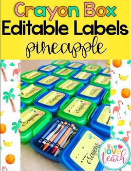 Crayon Box Editable Lid Labels - Pineapple
