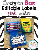 Crayon Box Editable Lid Labels - Pink Zebra