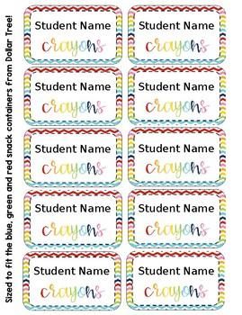 Crayon Box Editable Lid Labels - Rainbow