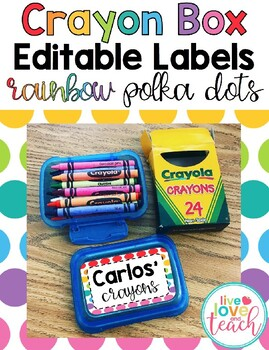 Crayon Box Editable Lid Labels - Rainbow Polka Dots