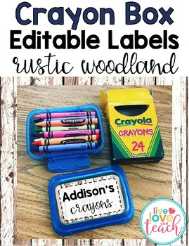 Crayon Box Editable Lid Labels - Rustic Woodland