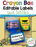 Crayon Box Editable Lid Labels - Under the Sea/Beach