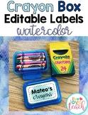 Crayon Box Editable Lid Labels - Watercolor