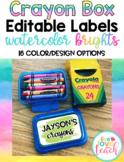 Crayon Box Editable Lid Labels - Watercolor Brights