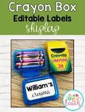 Crayon Box Editable Lid Labels - White Farmhouse Shiplap