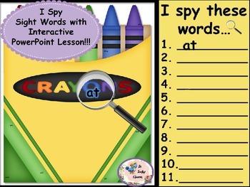 Crayon Box- I Spy Sight Words-  Interactive PowerPoint