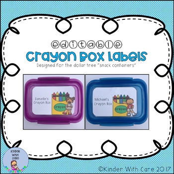 "Crayon Box Labels - Dollar Tree ""Snack Containers"""