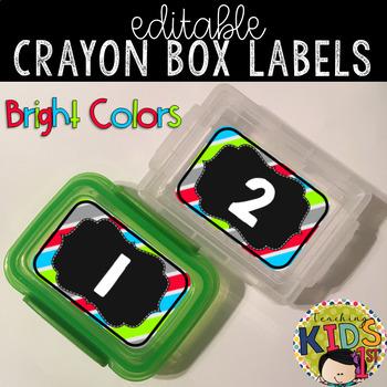 Crayon Box Labels Editable (BRIGHT COLORS)