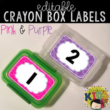 Crayon Box Labels Editable (PINK & PURPLE)