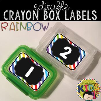 Crayon Box Labels Editable (RAINBOW)