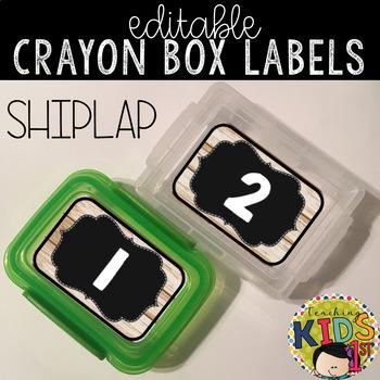 Crayon Box Labels Editable (Shiplap)