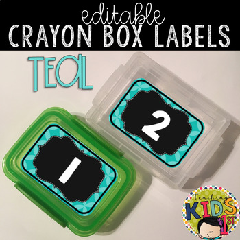 Crayon Box Labels Editable (TEAL & BLACK)