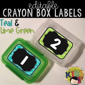 Crayon Box Labels Editable (TEAL & LIME GREEN)