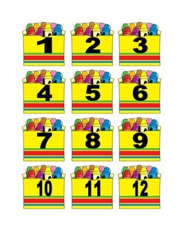 Crayons in Box Numbers for Calendar or Math Activity