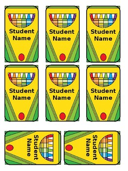 Crayon Box Snack Container Labels