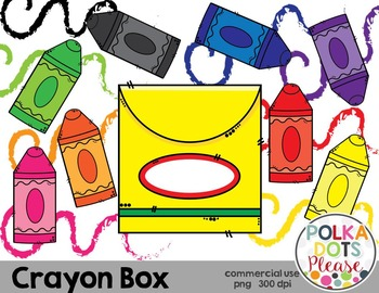 Crayon Box with Crayons and Squiggles {Graphics for Commercial Use}