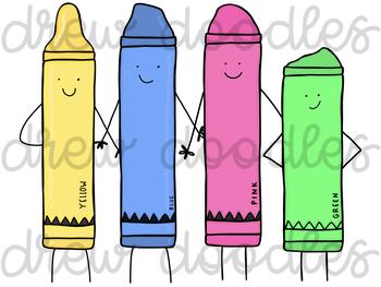 Crayon Characters Digital Clip Art Set