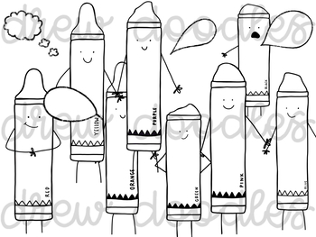 Crayon Characters Digital Clip Art Set- Black Line Version