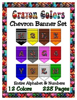 Crayon Chevron Pennant Set - 12 colors - Any Message  - 228 pages - Celebrate