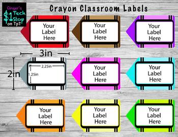 Crayon Classroom Labels * White