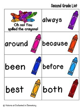 Crayon Clean-Up Sight Words! Second Grade List Pack