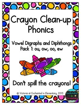 Crayon Clean-up Phonics: Vowel Digraphs and Diphthongs Pack 1: ow, ou, oo, ew