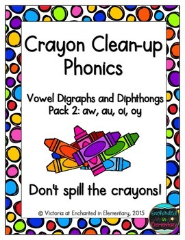 Crayon Clean-up Phonics: Vowel Digraphs and Diphthongs Pac