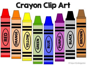 crayon clip art back to school by kajun kindergarten tpt