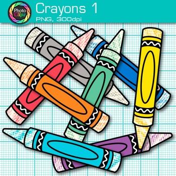 Rainbow Crayon Clip Art {Back to School Supplies for Classroom Decor} 1