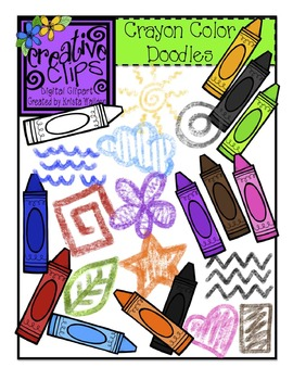 Crayon Color Doodles {Creative Clips Digital Clipart}