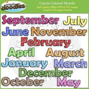 Crayon Colored Months