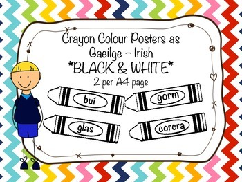 Crayon Colour Posters as Gaeilge - dathanna BW